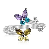 Sterling Silver Rhodium Plated Floral Toe Ring with Multi-Tone C
