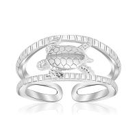Sterling Silver Rhodium Plated Open Toe Ring with a Turtle Accen