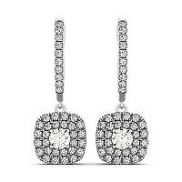 Double Halo Style Cushion Outer Shaped Diamond Drop Earrings in