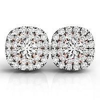 14K White and Rose Gold Cushion Shape Halo Diamond Earrings (3/4