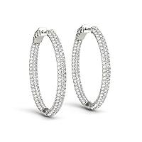 14K White Gold Diamond Hoop Double Sided Three Row Earrings (2 c