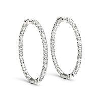 14K White Gold Diamond Hoop Earrings with Shared Prong Setting