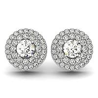 14K White Gold Double Halo Round Diamond Earrings (1 1/4 ct. tw.