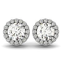 14K White Gold Four Prong Round Halo Diamond Earrings (1 1/6 ct.