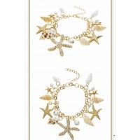 Women Sea Shell Starfish Faux Pearl Gold Bracelet