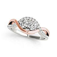 14K White And Rose Gold Infinity Style Two Stone Diamond Ring
