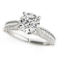14K White Gold Round Pronged Antique Design Diamond Engagement R