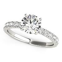 14K White Gold Single Row Shank Round Diamond Engagement Ring (1