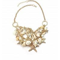 Fashion sea shell starfish faux pearl chunky necklace.  Beautifu