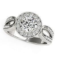 14K White Gold Round with Teardrop Split Band Diamond Engagement