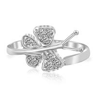 Sterling Silver Rhodium Finished Butterfly Toe Ring with White Cubic Zirconia