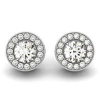 14K White Gold Round Diamond Halo Milgrain Border Earrings (3/4