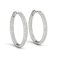 14K White Gold Two Row Pave Set Diamond Hoop Earrings (7 ct. tw.