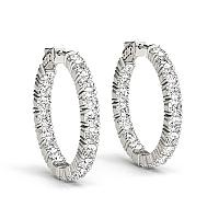 14K White Gold Two Sided Prong Set Diamond Hoop Earrings (3 1/2