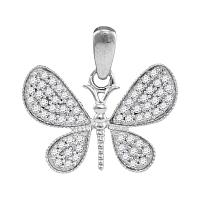 10kt White Gold Womens Round Diamond Butterfly Bug Wings Pendant 1/3 Cttw