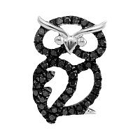 Sterling Silver Womens Round Black Color Enhanced Diamond Owl Bird Pendant 1/6 Cttw