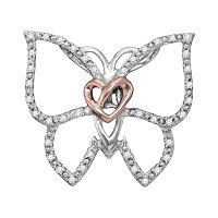 Sterling Silver Womens Round Diamond Butterfly Bug Heart Pendant 1/10 Cttw