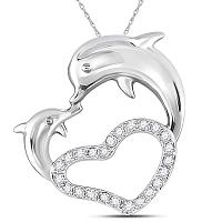 14kt White Gold Womens Round Diamond Double Dolphin Heart Pendant 1/6 Cttw