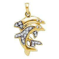 Yellow-tone Sterling Silver Womens Round Diamond Dolphin Animal Pendant 1/6 Cttw