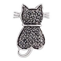 14kt White Gold Womens Round Black Color Enhanced Diamond Kitty Cat Feline Pendant 1/4 Cttw