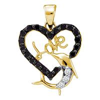 14kt Yellow Gold Womens Round Black Color Enhanced Diamond Heart Dolphin Love Pendant 3/8 Cttw