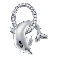 10kt White Gold Womens Round Diamond Leaping Dolphin Oval Pendant 1/12 Cttw