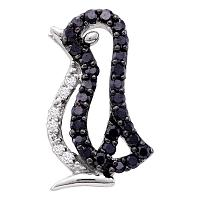 10kt White Gold Womens Round Black Color Enhanced Diamond Penguin Bird Animal Pendant 1/6 Cttw