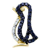 10kt Yellow Gold Womens Round Black Color Enhanced Diamond Penguin Bird Animal Pendant 1/6 Cttw