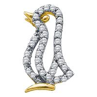 10kt Yellow Gold Womens Round Diamond Penguin Bird Animal Pendant 1/6 Cttw