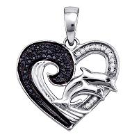Sterling Silver Womens Round Black Color Enhanced Diamond Heart Dolphin Pendant 1/6 Cttw