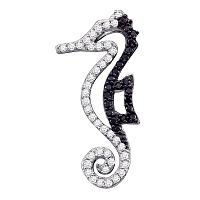 10k White Gold Black Color Enhanced Diamond Seahorse Animal Nautical Womens Pendant 1/5 Cttw