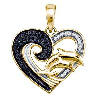 Sterling Silver Black Color Enhanced White Diamond Womens Yellow-tone Heart Double Dolphin Pendant 1/6 Cttw