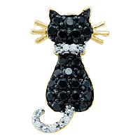 14kt Yellow Gold Womens Round Black Color Enhanced Diamond Kitty Cat Feline Pendant 1/3 Cttw