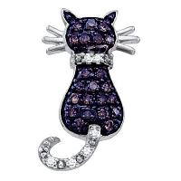 10k White Gold Cognac-brown Color Enhanced Diamond Kitty Cat Womens Pendant 1/3 Cttw