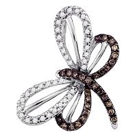 10kt White Gold Womens Round Cognac-brown Color Enhanced Diamond Butterfly Bug Pendant 1/4 Cttw