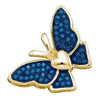 10kt Yellow Gold Womens Round Blue Color Enhanced Diamond Butterfly Bug Pendant 1/6 Cttw