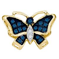 10kt Yellow Gold Womens Round Blue Color Enhanced Diamond Butterfly Bug Pendant 1/12 Cttw