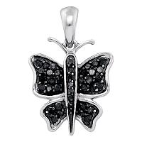 10kt White Gold Womens Round Black Color Enhanced Diamond Butterfly Bug Pendant 1/4 Cttw