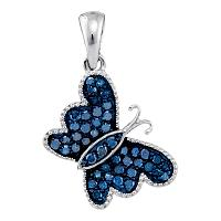 10kt White Gold Womens Round Blue Color Enhanced Diamond Butterfly Bug Pendant 1/3 Cttw