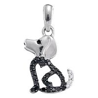 10k White Gold Black Color Enhanced Diamond Womens Puppy Doggy Dog Canine Pendant 1/8 Cttw
