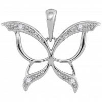 10kt White Gold Womens Round Diamond Butterfly Bug Wings Pendant .03 Cttw