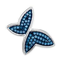 10kt White Gold Womens Round Blue Color Enhanced Diamond Butterfly Bug Pendant 1/4 Cttw