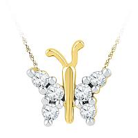10k Yellow Gold Womens Round Diamond Small Butterfly Bug Insect Unique Pendant 1/5 Cttw