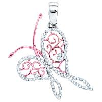 10k White Gold Round Pave Diamond 2-tone Butterfly Bug Womens Pendant 1/5 Cttw