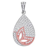 10kt Two-tone Gold Womens Round Diamond Butterfly Bug Teardrop Pendant 1/3 Cttw