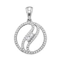 10kt White Gold Womens Round Diamond 2-stone Divided Circle Pendant 1/6 Cttw
