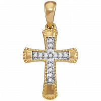 10kt Yellow Gold Womens Round Diamond Small Flared Cross Pendant 1/10 Cttw