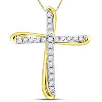 14kt Two-tone Gold Womens Round Diamond Cross Pendant 1/8 Cttw