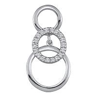 10kt White Gold Womens Round Diamond Cascading Triple Circle Pendant 1/6 Cttw