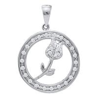10kt White Gold Womens Round Diamond Circle Rose Flower Pendant 1/6 Cttw